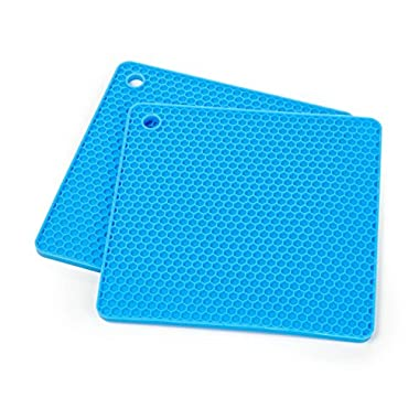 Set of Two (2) Multipurpose Silicone Pot Holder, Trivet, Jar Opener, Coaster, Spoon Rest, Placemat (Blue)