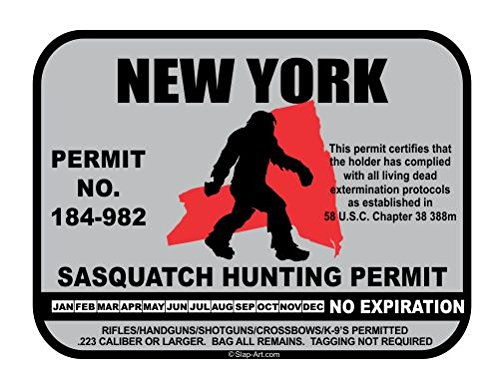 New York Sasquatch Hunting Permit License Bigfoot Vinyl Sticker Decal