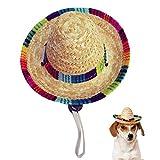 Kitatayi Dog Sombrero Hat, Mini Straw Sombrero Hats Mexican Hats Sombrero Party Hats for Small Pets/Puppy/Cat (Elastic Band)