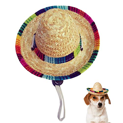 Kitatayi Dog Sombrero Hat, Mini Straw Sombrero Hats Mexican Hats Sombrero Party Hats for Small Pets/Puppy/Cat (Elastic Band)]()