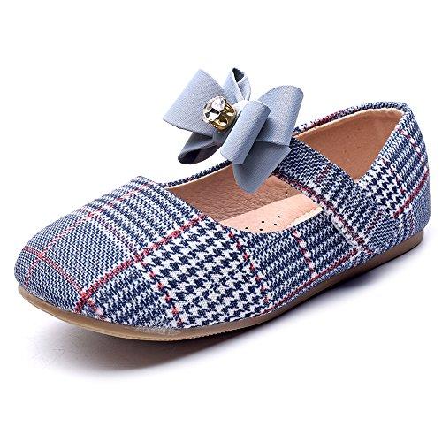 Chiximaxu Maxu Girl's Marry Jane Flat Slip on School Ballerina Shoes,Blue Bowknot Little Kid 11M by Chiximaxu