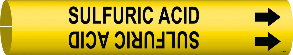 Brady 7/8'' X 7/8'' Black/Yellow BradySnap-On Coiled Plastic Pipe Marker''SULFURIC ACID'' by Brady USA