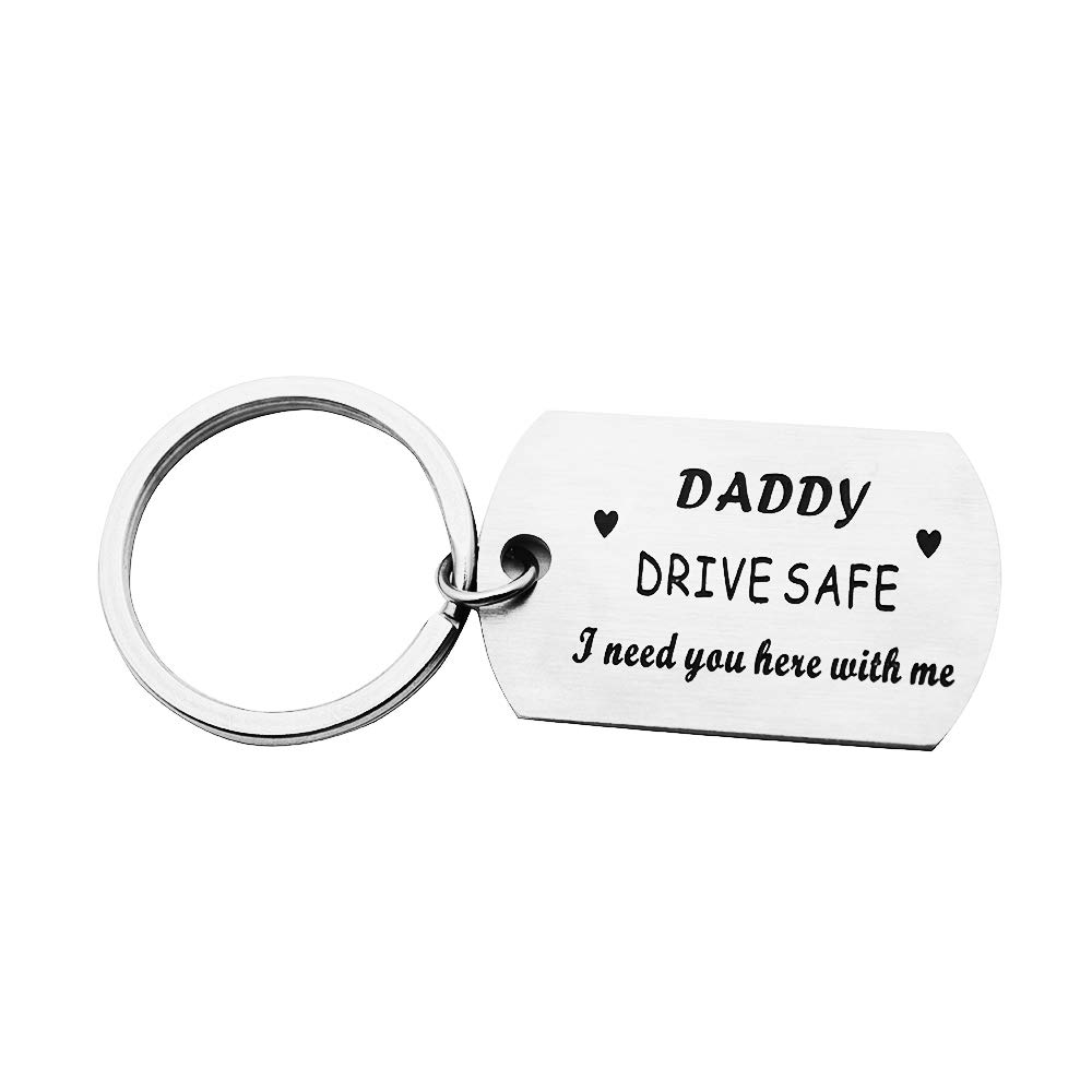 Huiuy Trucker Driver Keychain Keyring Dad Gift Drive Safe Dog Tag Keychain Personalized Men Gift (Drive Safe,I Need You here with me)