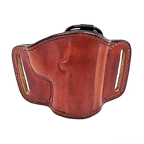 Bianchi 105 Minimalist, Suede Lined, Premium Leather Holster w/Elastic Strap & Leather Tab, Tan, Right Hand, SZ14, Colt 1911 Government, Commander, Officers' (or similar), Glock 42, Sig Sauer P365, Springfield 1911 A-1 Bianchi Suede Belt Holster
