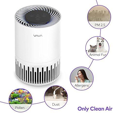 VAVA Purificador de Aire para Hogar Filtro HEPA 3 en 1, 3 Ajustes de Velocidad, Luz Nocturna, Modo de Sueño, Modo Turbo, Silencioso 12W para Casa, Oficina, Sala de 8 a 15㎡: Amazon.es: Hogar