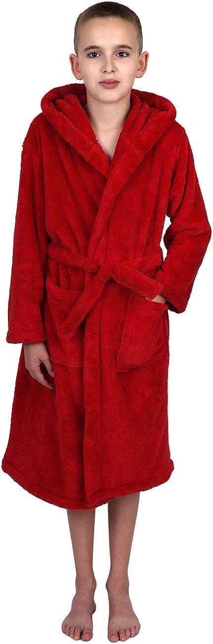 TowelSelections Boys Robe, Kids Plush Hooded Fleece Bathrobe: Clothing
