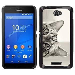 LECELL--Funda protectora / Cubierta / Piel For Sony Xperia E4 -- Gato que mira a escondidas negro oídos Blanco Ojos --