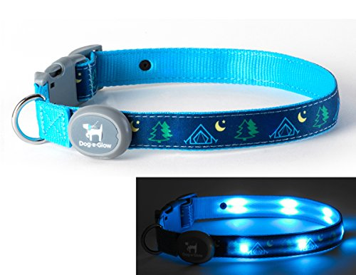 Dog-E-Glow Light Up LED Dog Comfort Collar - Patented Light Up Glowing Collar for Puppies and Dogs of all Kinds for Training and Outdoor Fun - by Large (15-21 inches), Camping by Dog-E-Glow