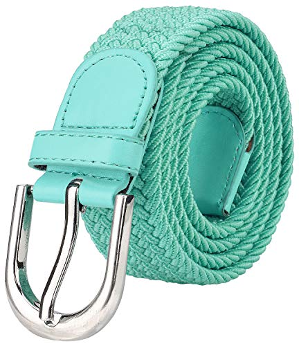 X-large X-large Color - Falari Men Women Canvas Elastic Fabric Woven Stretch Braided Belt - Tiffany Green-X-Large