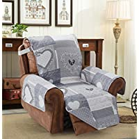 "Brilliant Sunshine Patchwork Sofa Furniture Protector Reversible Quilted Scroll Embroidery Soft Layers/Filling, 2"" Elastic Strap, Machine Washable Arm Chair Slip Cover for Kids, Pets"