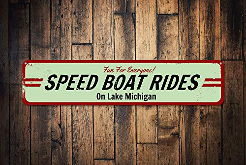 Yetta Quiller Speed Boat Rides Sign Personalized Fun for Everyone Sign Custom Lake House Sign Metal Lake Name Decor Tin Metal Aluminum ()