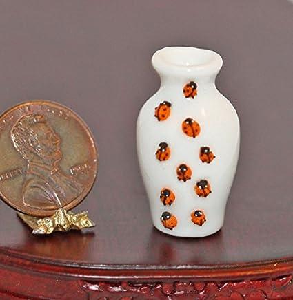 Amazon Bright Delights Dollhouse Miniature White Ladybug Vase