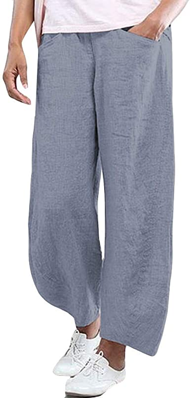 RISTHY Pantalones de Lino con Cintura Elástica Pantalones Anchos ...