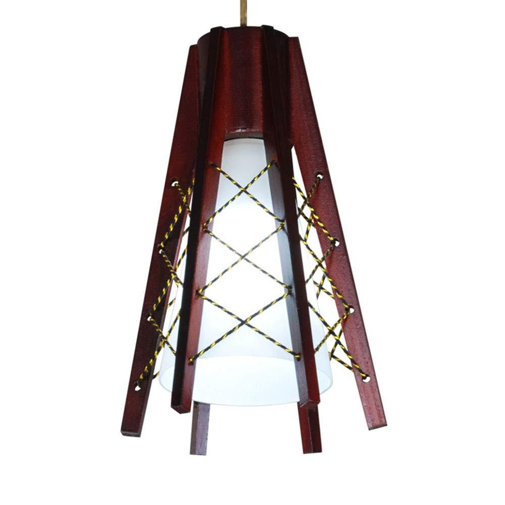 Vintage Pendelleuchte Orientalische Hängelampe Restaurant lampe Hanfseil und Holz Deckenleuchte Höhenverstellbar E27 für B&B Restaurant Café Bar Esstisch Foyer,1-flammig