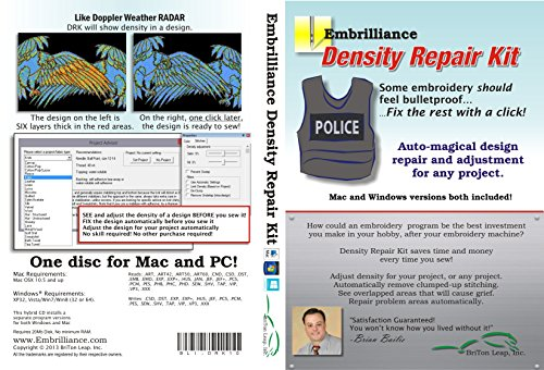 - Embrilliance Density Repair Kit Pro Embroidery Software for Mac & PC