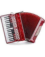"""Classic Cantabile 72 Bass akordeon """"Secondo V"""" - akordeon klawiszowy - 3-szezlong - 34 klawisze Dical - z paskiem i kieszenią plecaka - czerwony"""