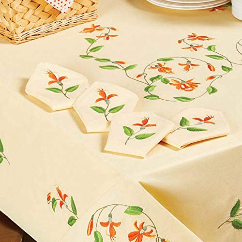 Herrschners® Orange Orchids Napkins Stamped Embroidery