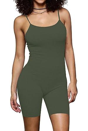 9ecdb35e47c Jescakoo Women Spaghetti Strap Short Cami Jumpsuit Rompers Yoga Bodysuit  Olive S