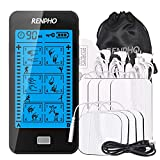 RENPHO TENS Unit Muscle Stimulator with Touchscreen, Rechargeable TENS Machine with 24 Modes, Independent Dual Channels, 8pcs Electrode Pads, Portable Pulse Massager for Back and Muscles Pain Relief