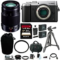 Panasonic DMC-GX8S LUMIX GX8 Mirrorless Camera (Silver, Body Only) with 35-100mm Lens and Accessory Bundle