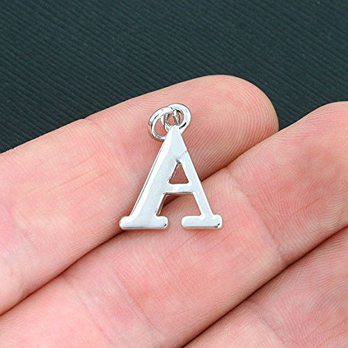 (4 Alpha Greek Letter Charms Antique Silver Tone - SC4028 Jewelry Making Supply Pendant Bracelet DIY Crafting by Wholesale Charms)