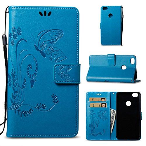 Funda Xiaomi Redmi Note 5A Prime, Ecoway Mariposa en relieve PU Leather Cubierta, Funda de cuero billetera con Tapa para Tarjetas Soporte para Teléfono para Xiaomi Redmi Note 5A Prime- Marron oscuro azul