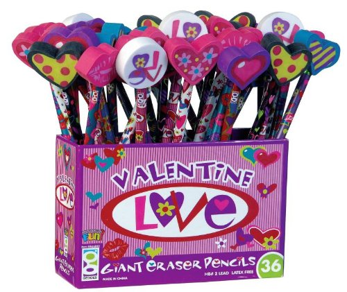 Geddes Valentine Love Pencil with Giant Eraser Topper Assortment - Set of 36