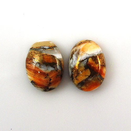 Natural Orange Oyster Cabs Oval 14x10mm Matched Pair Approximately 10 Carat Vibrant Colors Great Value (10993) ()