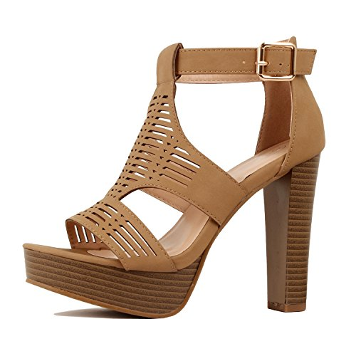 Guilty Shoes - Womens Cutout Gladiator Ankle Strap Platform High Block Heel Stiletto Heeled Sandals (7 B(M) US, Tanv8 Pu)