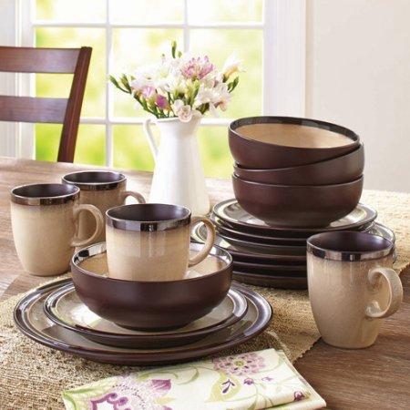 Better Homes and Gardens 16-Piece Sierra Dinnerware Set, Beige (Better Homes Gardens Dinnerware)