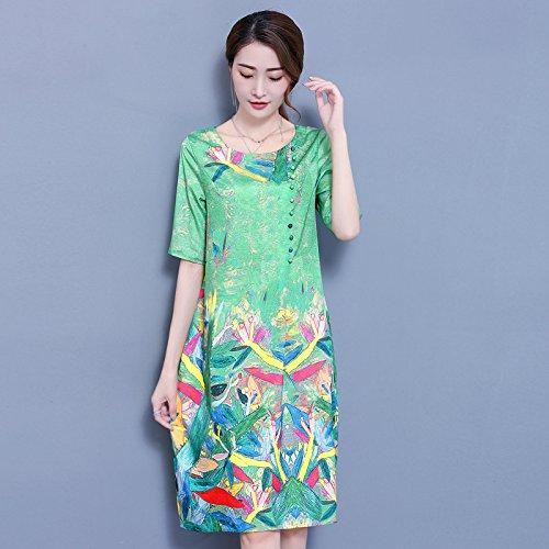 Seda Floja Green Los De Y Primavera Seda Impresión Larga De Falda Oriente N Mujer Seda RONG De Vestido Gusanos XIU UgxqwP7E