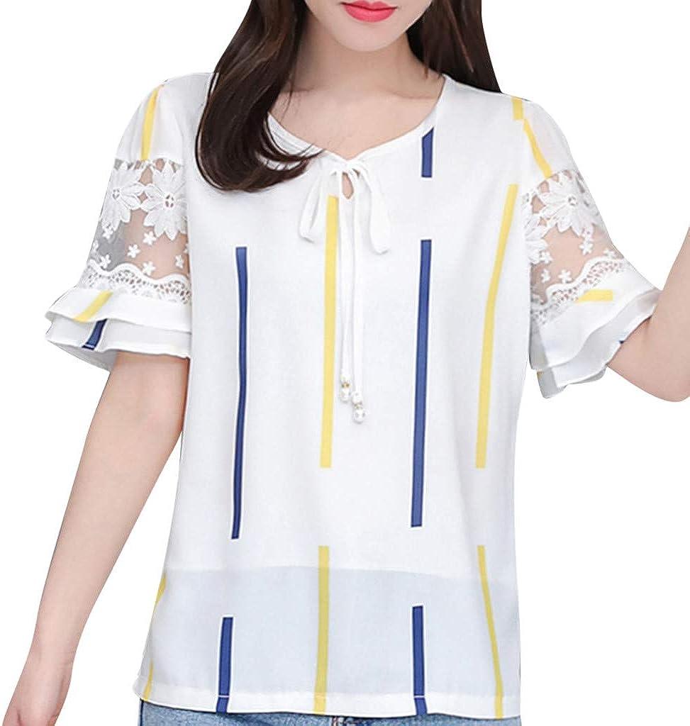 MOTOCO Mujer O Cuello Hombro frío Camisetas Casuales Tops Blusa Encaje Trompeta Puños Camisa con Estampado de Rayas y Puntos(3XL, Amarillo-1): Amazon.es: Ropa y accesorios