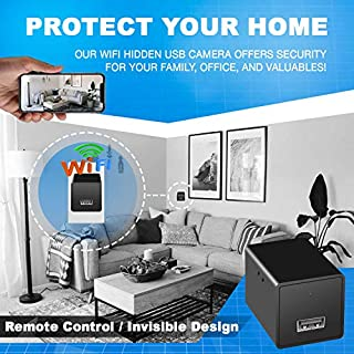 Spy camera USB Phone charger by WEMLB -1080p HD hidden camera, WIFI Wireless wall plug USB Charger [Motion Detection, AC Adapter, Remote App Control] Nanny camera |Home, Kids, Baby, Pet monitoring cam