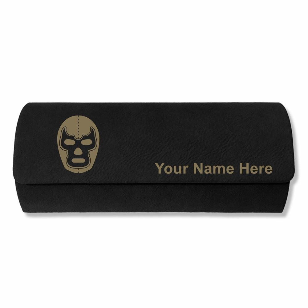 Eyeglass Case - Luchador Mask - Personalized Engraving Included (Black)