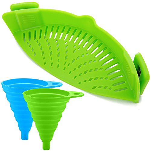 Silicone Flexible Strainer - Silicone Snap Strainer with 2 Collapsible Funnels, FineGood Hands-free Clip-on Heat Resistant Colander Pour Spout for Pasta Vegetable Noodles Pot bowl Pan - Green