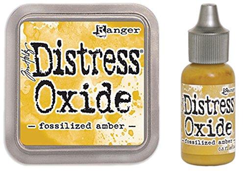 SPECIAL BUNDLE Ranger Tim Holtz Distress Oxide Ink Pad FOSSILIZED AMBER +Reinker ()
