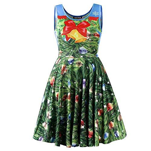 Fancyqube Women's Summer Sleeveless Cute Print Mini Flare Dress (M, Christmas Green) -