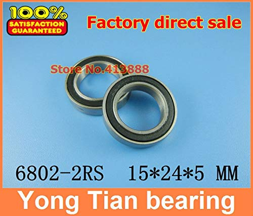 Ochoos Sale Price 500pcs The Rubber Sealing Cover Thin Wall deep Groove Ball Bearings 6802-2RS 15245 mm ABEC-1 Z2