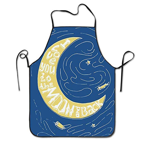 PoppyAnthony Crescent Moon Maze with Comet Stars Swirls Valentines Celebration Print Cooking Apron Personalized Chef Apron for Women Men Kitchen Bib Apron]()
