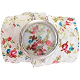 Strada Japanese Movement White Floral Cloth Wrap Watch with Stainless Steel Back