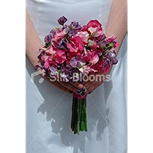 Beautiful Sweetpea Bridesmaid Bouquet in Fuchsia and Aubergine 15