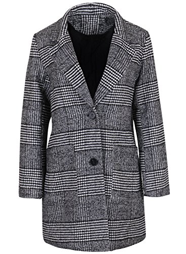 (ililily Black & White Houndstooth Glen Check Quilted Lining Warm Winter Coat (jackets-373-1))