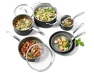 GreenPan Chatham ceramic Non-Stick 10Pc Cookware Set, Grey