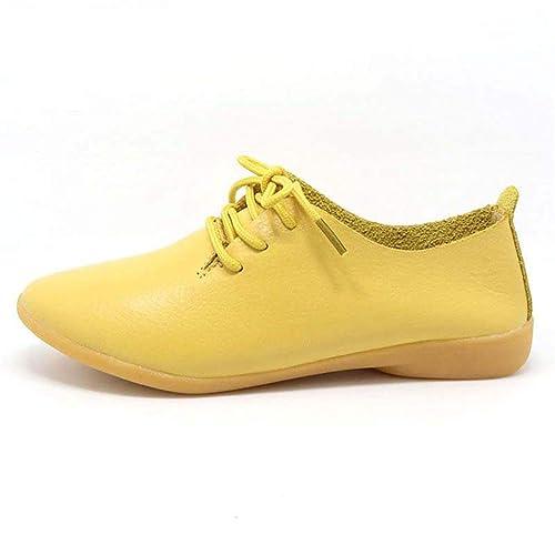 Zapatos Casuales de Las Mujeres Primavera otoño Oxford Cuero con Cordones Zapatos de Mocasines Plana: Amazon.es: Zapatos y complementos
