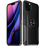 iPhone 11 Pro Max Carbon Fiber Ring Holder Case,Lozeguyc iPhone 11 Pro Max 6.5 Inch Magnetic Car Mount Kickstand Case Silicone Hybrid Shockproof Heavy Duty Cover for Man-Black