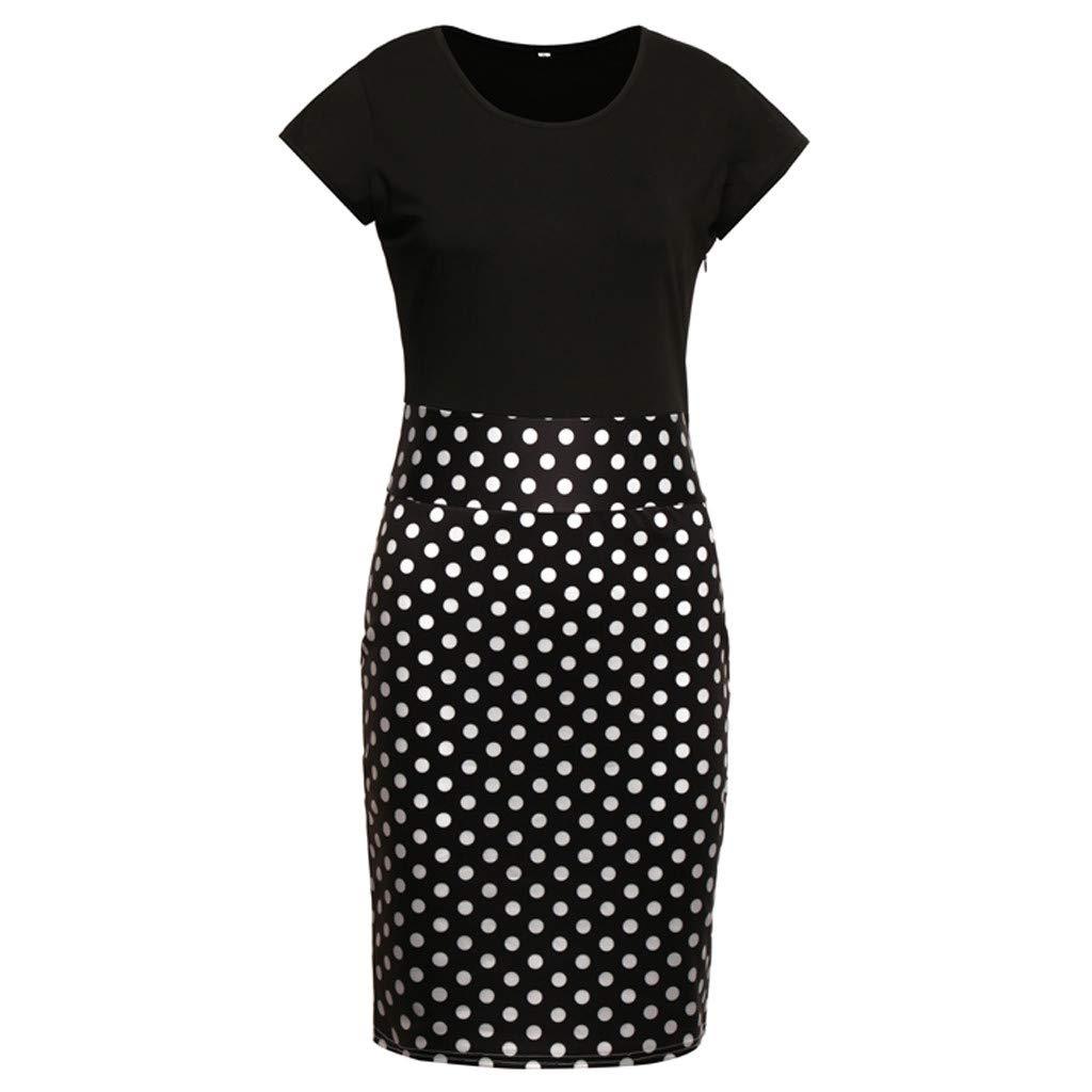 Dress for Women Summer Ladies Floral Dress Short Sleeve Fashion Splicing Flower Printing Buttock Beach Party Mini Dress