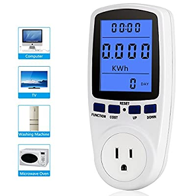 Digital LCD Display US Plug Power Meter Energy Watt Voltage Amps Meter with Electricity Usage Monitor Overload Protection
