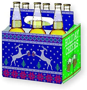Holiday Beer Lovers Gifts 6 Pack Craft Beer Carrier Gift Box In Festive Designs Best Christmas Gifts For Men Office Christmas Party Corporate Gifts Xmas Gifts For Dad Holiday Cheers Amazon Ae