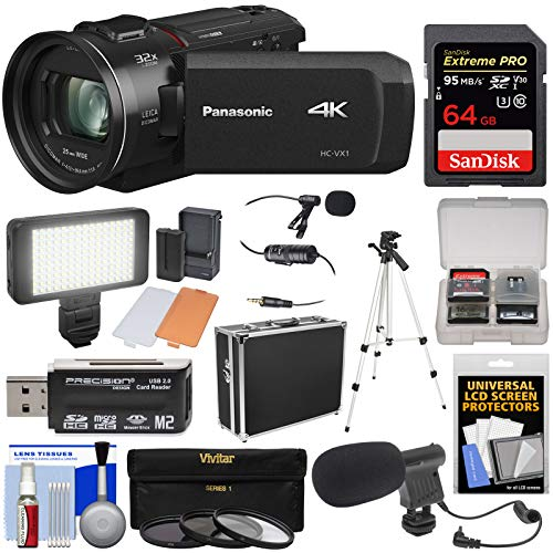 Panasonic HC-VX1 Wi-Fi 4K Ultra HD Video Camera Camcorder with 64GB Card + Hard Case + 3 Filters + Tripod + LED Video Light + 2 Microphones + Kit