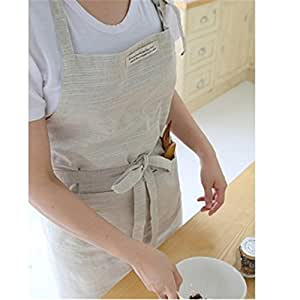Katoot@ Japanese Style Cross-front Smock Natural Linen Apron-natural Washing Color (Beige)